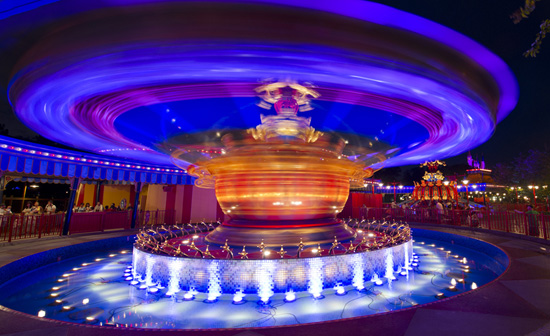 The LED lights under Dumbo (photo by the Disney Parks Blog)