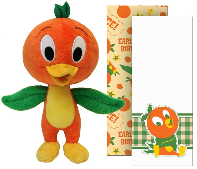 Orange Bird plush and tea towel set