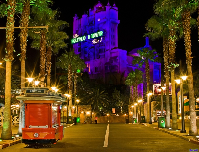 Hollywood Tower of Terror at the end of Sunset Boulevard (photo by Tom Bricker)