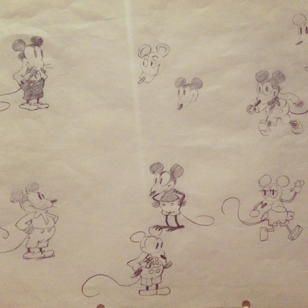Walt's earliest known drawings of Mickey Mouse