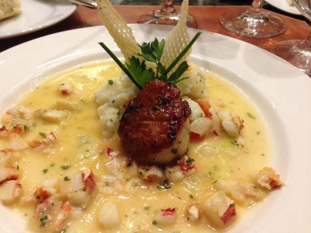 Scallop and Lobster on a Potato Puree at Napa Rose