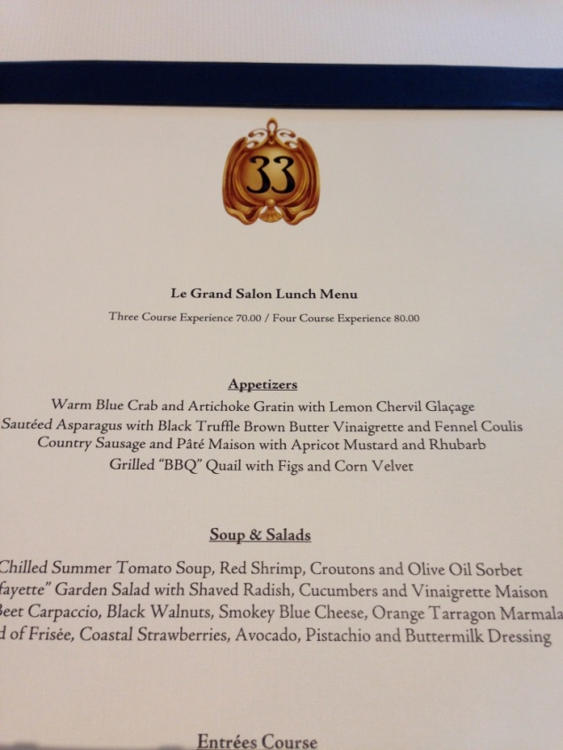 Club 33 Appetizer Menu