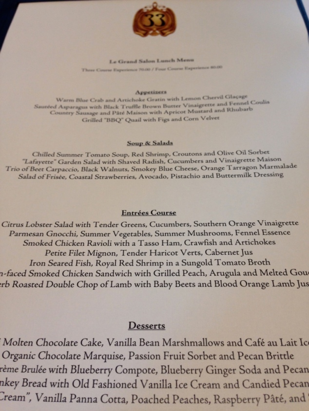 Club 33 Entree Menu